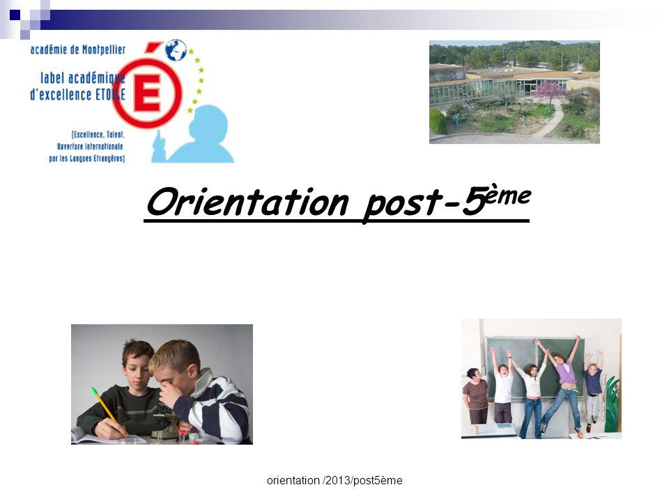 orientation /2013/post5ème  Les orientations possibles après la 5 ème  Les enseignements et options proposés au Collège  Les procédures et le calendrier