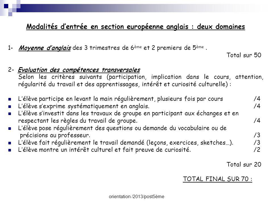 orientation /2013/post5ème Modalités d'entrée en section européenne anglais : deux domaines 1- Moyenne d'anglais des 3 trimestres de 6 ème et 2 premie
