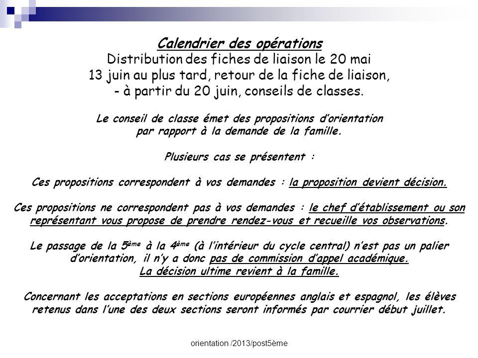 orientation /2013/post5ème Calendrier des opérations Distribution des fiches de liaison le 20 mai 13 juin au plus tard, retour de la fiche de liaison,