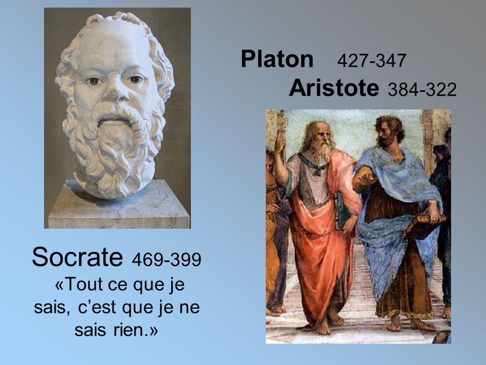 Platon 427-347 Aristote 384-322 Socrate 469-399 «Tout ce que je sais, c'est que je ne sais rien.»
