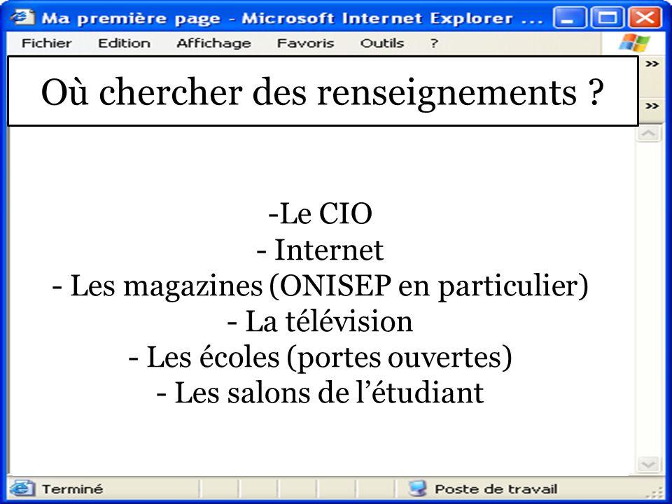 Où chercher des renseignements ? -Le CIO - Internet - Les magazines (ONISEP en particulier) - La télévision - Les écoles (portes ouvertes) - Les salon