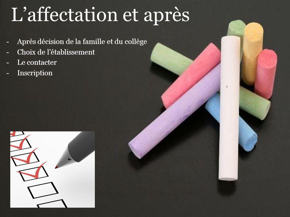 L'affectation et après -Après décision de la famille et du collège -Choix de l'établissement -Le contacter -Inscription