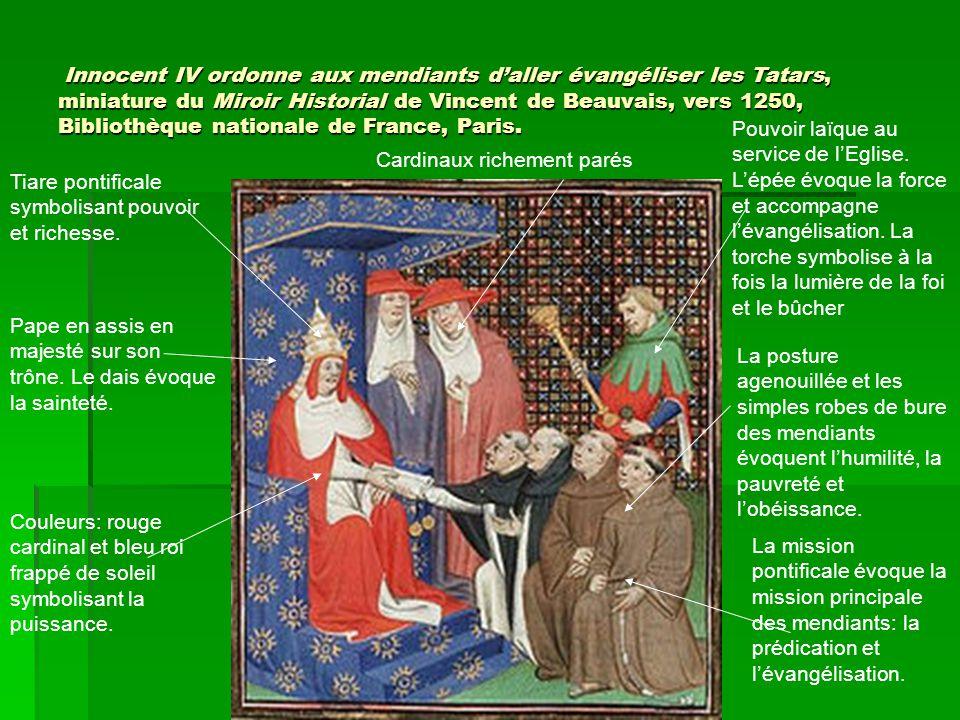 Innocent IV ordonne aux mendiants d'aller évangéliser les Tatars, miniature du Miroir Historial de Vincent de Beauvais, vers 1250, Bibliothèque nation