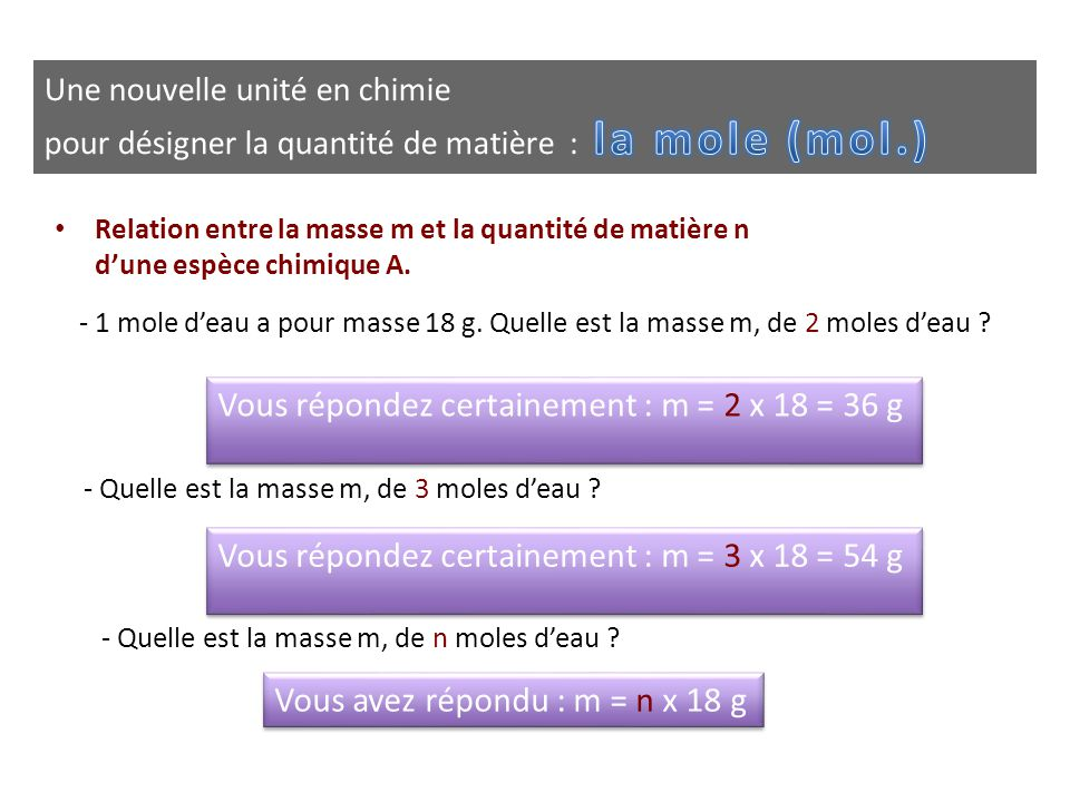 • Relation entre la masse m et la quantité de matière n d'une espèce chimique A. - 1 mole d'eau a pour masse 18 g. Quelle est la masse m, de 2 moles d
