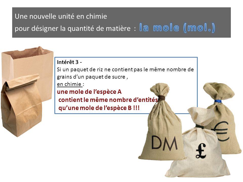 Intérêt 3 - Si un paquet de riz ne contient pas le même nombre de grains d'un paquet de sucre, en chimie : une mole de l'espèce A contient le même nom