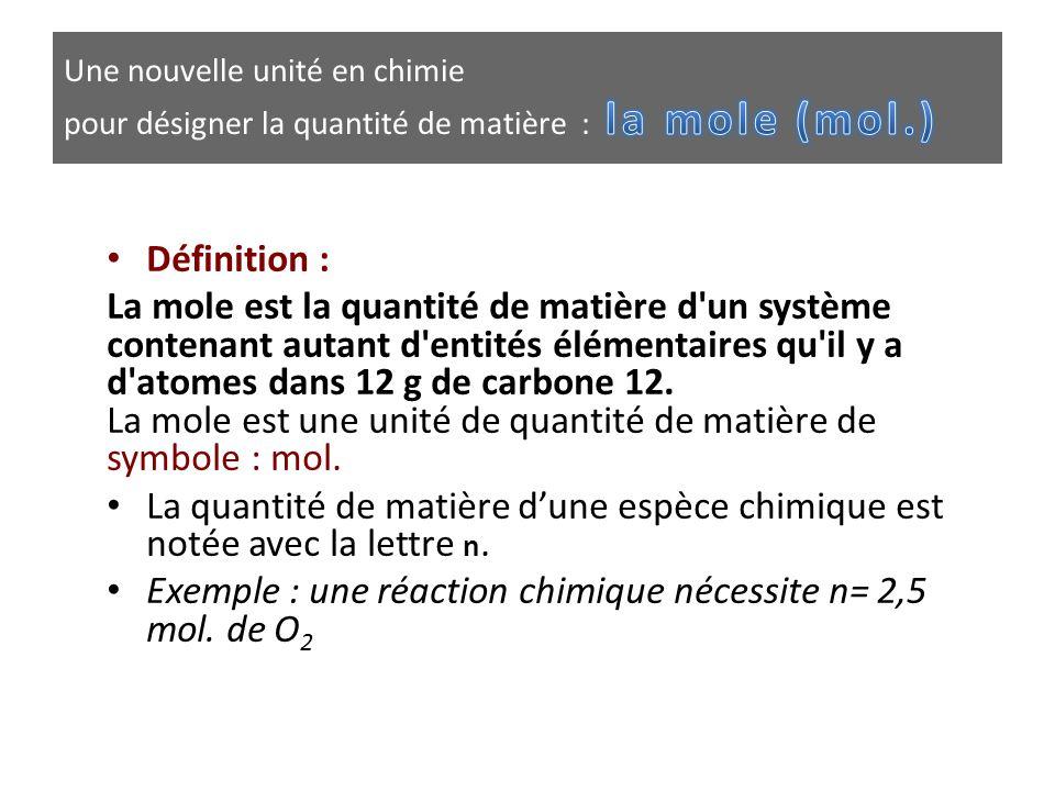 • Définition : La mole est la quantité de matière d'un système contenant autant d'entités élémentaires qu'il y a d'atomes dans 12 g de carbone 12. La