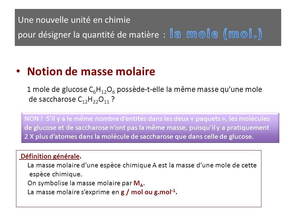 • Notion de masse molaire 1 mole de glucose C 6 H 12 O 6 possède-t-elle la même masse qu'une mole de saccharose C 12 H 22 O 11 ? NON ! S'il y a le mêm