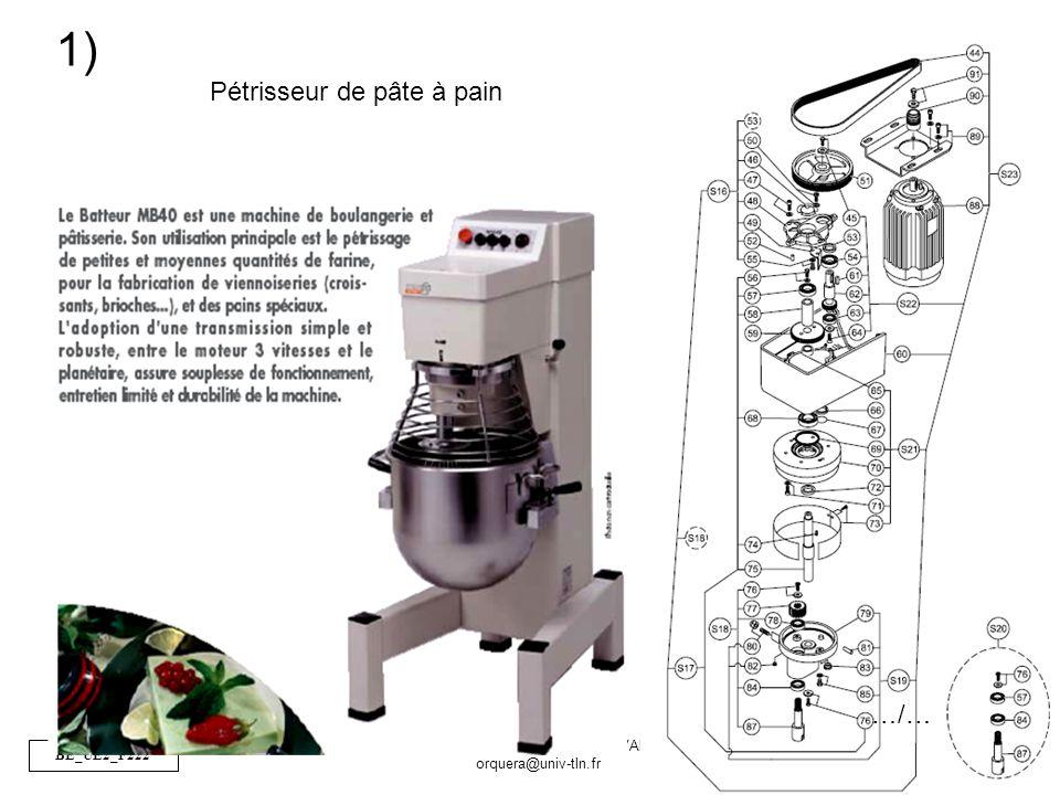 BE_UE2_F222 OR_BE_IUT GMP_TOULON VAR orquera@univ-tln.fr 25/84 Pétrisseur de pâte à pain 1) …/…