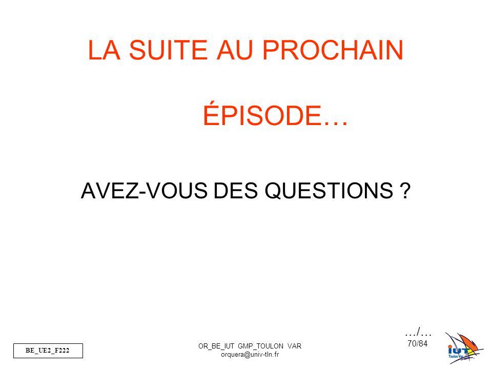 BE_UE2_F222 OR_BE_IUT GMP_TOULON VAR orquera@univ-tln.fr 70/84 LA SUITE AU PROCHAIN ÉPISODE… AVEZ-VOUS DES QUESTIONS ? …/…