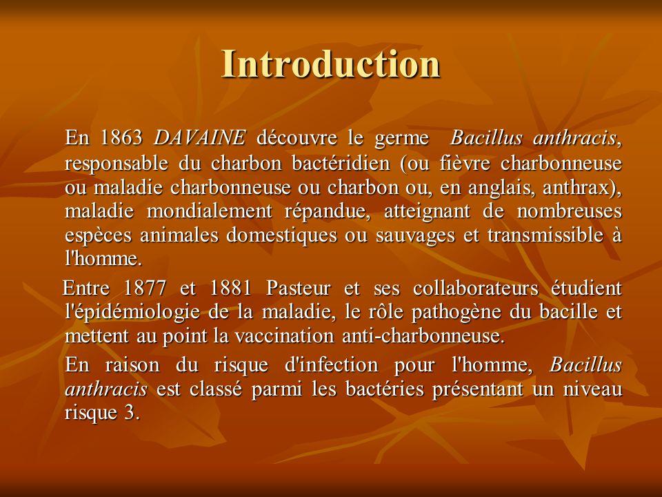 Introduction En 1863 DAVAINE découvre le germe Bacillus anthracis, responsable du charbon bactéridien (ou fièvre charbonneuse ou maladie charbonneuse ou charbon ou, en anglais, anthrax), maladie mondialement répandue, atteignant de nombreuses espèces animales domestiques ou sauvages et transmissible à l homme.