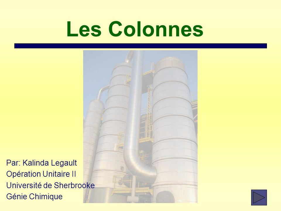 Les Colonnes Par: Kalinda Legault Opération Unitaire II Université de Sherbrooke Génie Chimique