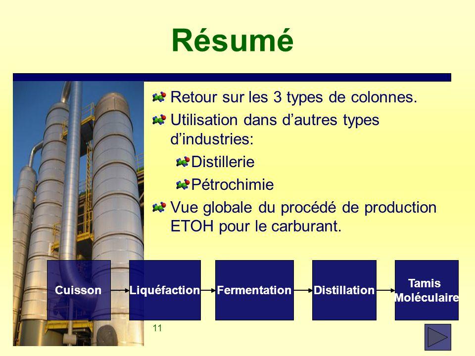 11 Résumé Retour sur les 3 types de colonnes. Utilisation dans d'autres types d'industries: Distillerie Pétrochimie Vue globale du procédé de producti
