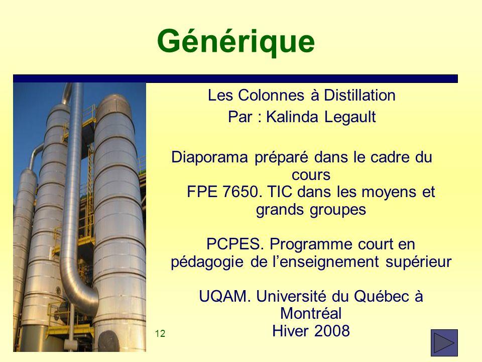 12 Générique Les Colonnes à Distillation Par : Kalinda Legault Diaporama préparé dans le cadre du cours FPE 7650. TIC dans les moyens et grands groupe