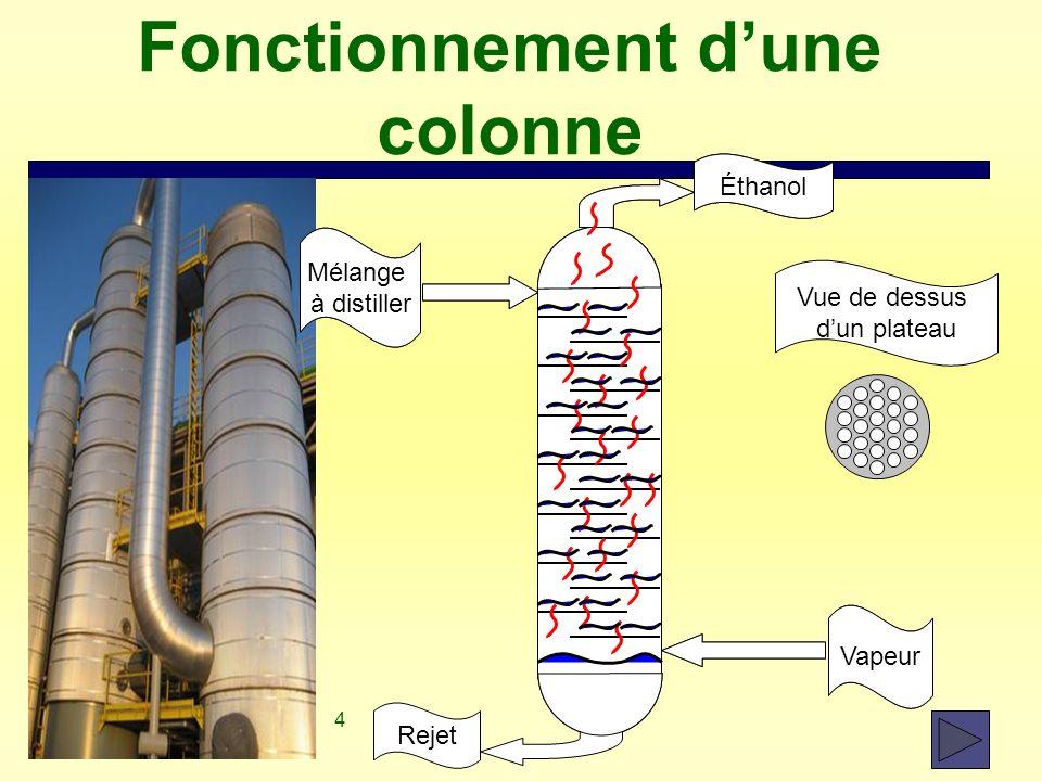 4 Fonctionnement d'une colonne Vapeur Mélange à distiller Éthanol Rejet Vue de dessus d'un plateau Vapeur Mélange à distiller Éthanol