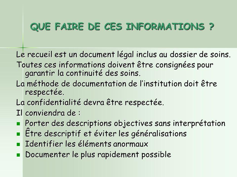QUE FAIRE DE CES INFORMATIONS .Le recueil est un document légal inclus au dossier de soins.