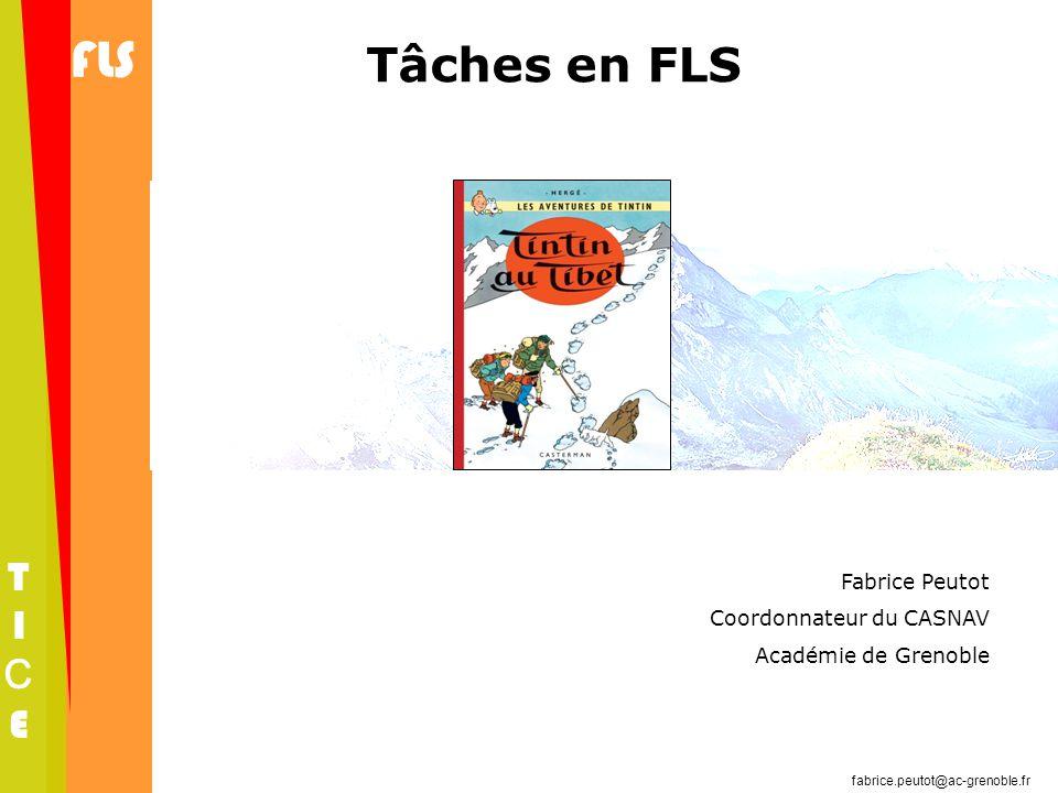 fabrice.peutot@ac-grenoble.fr FLS TICETICE Fabrice Peutot Coordonnateur du CASNAV Académie de Grenoble Tâches en FLS