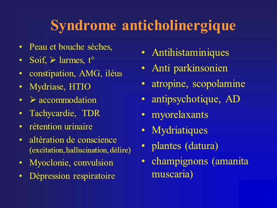 Syndrome anticholinergique •Peau et bouche sèches, •Soif,  larmes, t° •constipation, AMG, iléus •Mydriase, HTIO •  accommodation •Tachycardie, TDR •
