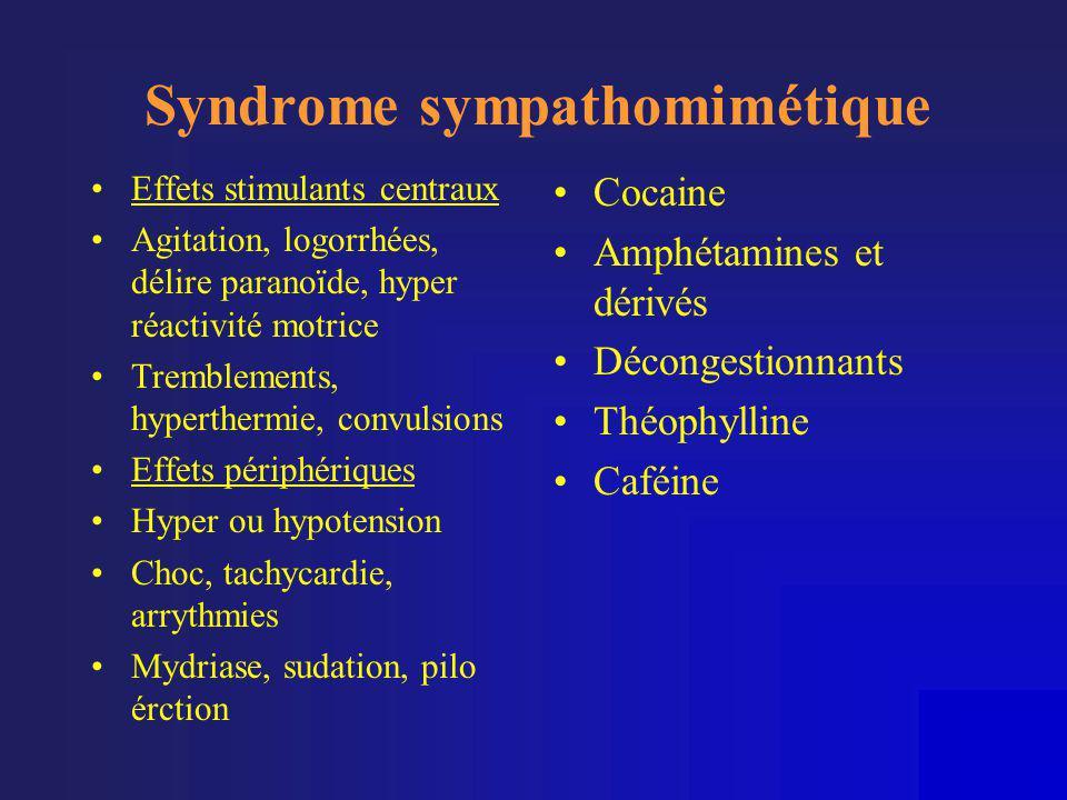 Syndrome sympathomimétique •Effets stimulants centraux •Agitation, logorrhées, délire paranoïde, hyper réactivité motrice •Tremblements, hyperthermie,