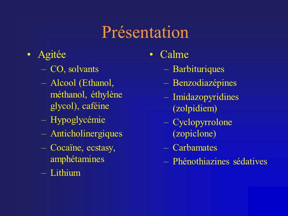 Présentation •Agitée –CO, solvants –Alcool (Ethanol, méthanol, éthylène glycol), caféine –Hypoglycémie –Anticholinergiques –Cocaïne, ecstasy, amphétam