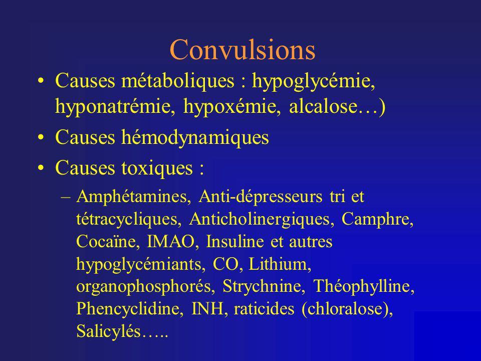 Convulsions •Causes métaboliques : hypoglycémie, hyponatrémie, hypoxémie, alcalose…) •Causes hémodynamiques •Causes toxiques : –Amphétamines, Anti-dép