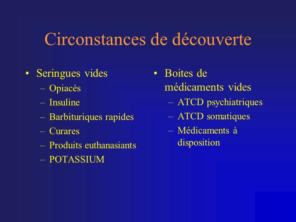 Circonstances de découverte •Seringues vides –Opiacés –Insuline –Barbituriques rapides –Curares –Produits euthanasiants –POTASSIUM •Boites de médicame