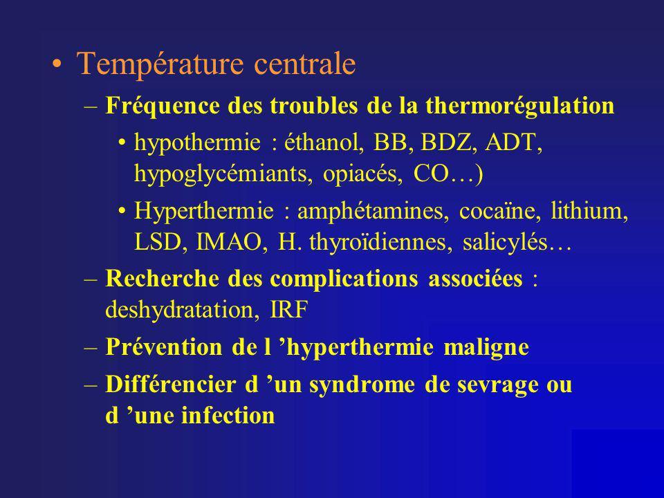 •Température centrale –Fréquence des troubles de la thermorégulation •hypothermie : éthanol, BB, BDZ, ADT, hypoglycémiants, opiacés, CO…) •Hyperthermi