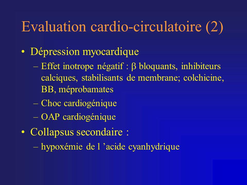 Evaluation cardio-circulatoire (2) •Dépression myocardique –Effet inotrope négatif :  bloquants, inhibiteurs calciques, stabilisants de membrane; col