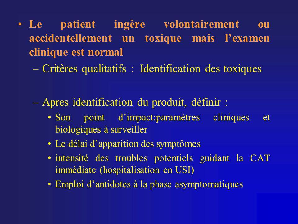 •Le patient ingère volontairement ou accidentellement un toxique mais l'examen clinique est normal –Critères qualitatifs : Identification des toxiques