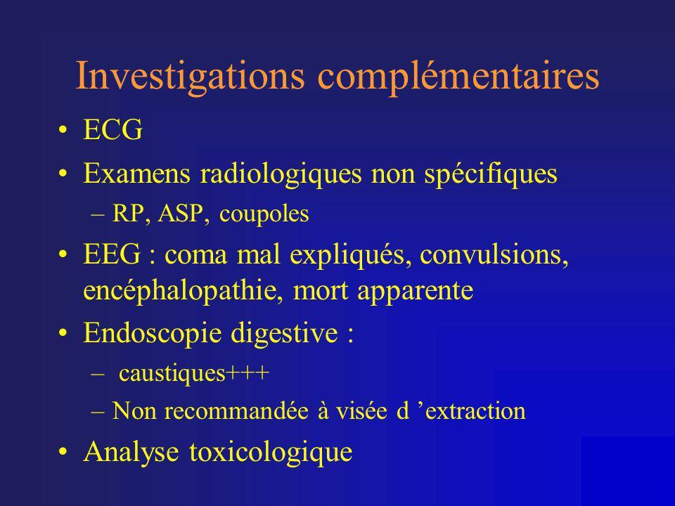Investigations complémentaires •ECG •Examens radiologiques non spécifiques –RP, ASP, coupoles •EEG : coma mal expliqués, convulsions, encéphalopathie,