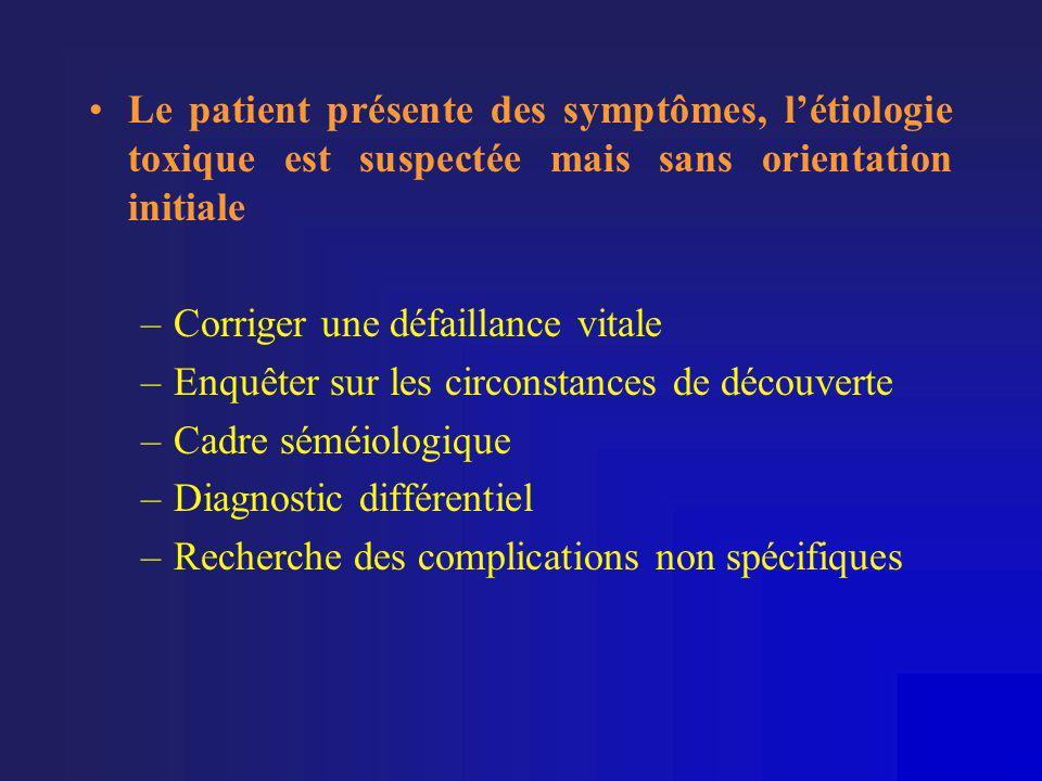 •Le patient présente des symptômes, l'étiologie toxique est suspectée mais sans orientation initiale –Corriger une défaillance vitale –Enquêter sur le