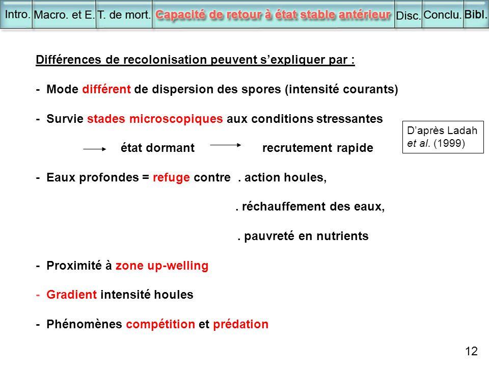 12 Différences de recolonisation peuvent s'expliquer par : - Mode différent de dispersion des spores (intensité courants) - Survie stades microscopiqu