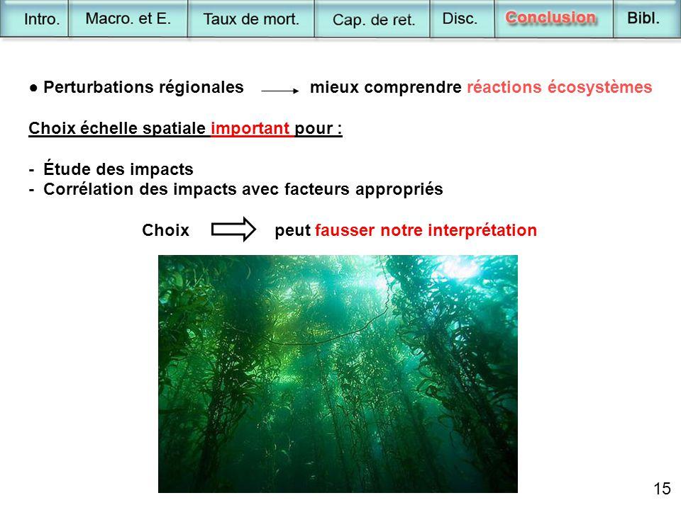 15 ● Perturbations régionales mieux comprendre réactions écosystèmes Choix échelle spatiale important pour : - Étude des impacts - Corrélation des imp
