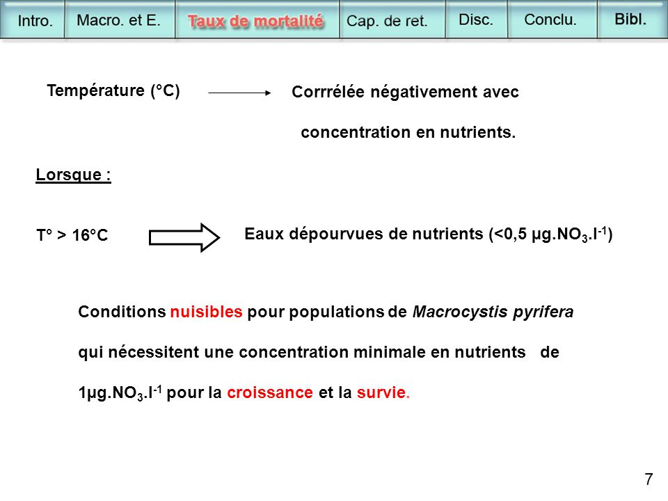 8 Pendant ENSO Approfondissement thermocline - Couche surface - Fréquence pulse nutrients Si conditions > 2 semaines populations + stressées et carencées Macrocystis pyrifera devient plus vulnérable à l'action des houles.