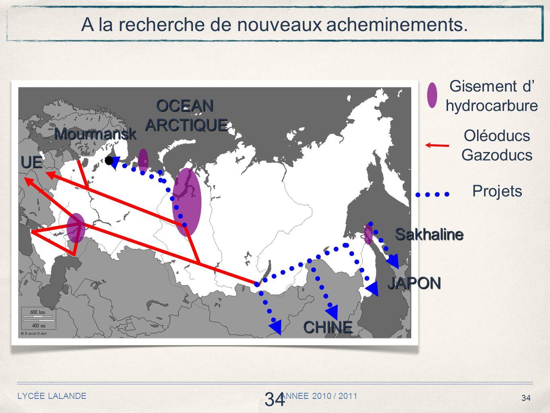 34 LYCÉE LALANDE ANNEE 2010 / 2011 34 A la recherche de nouveaux acheminements. Oléoducs Gazoducs Gisement d' hydrocarbure UE Projets OCEANARCTIQUE CH