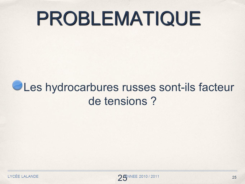25 PROBLEMATIQUE LYCÉE LALANDE ANNEE 2010 / 2011 25 Les hydrocarbures russes sont-ils facteur de tensions ?