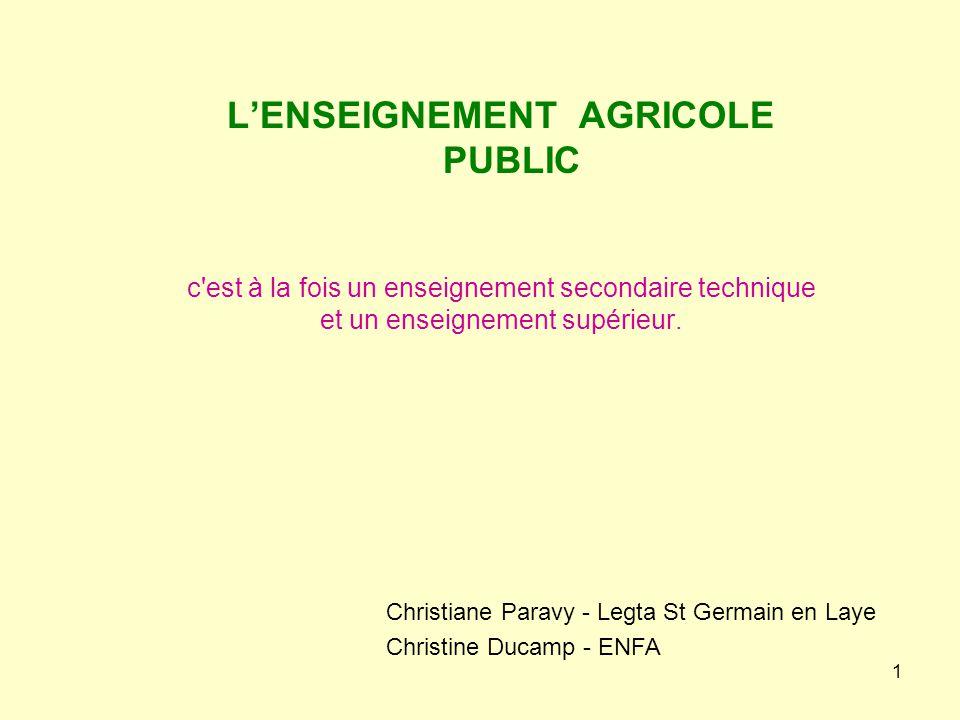 1 L'ENSEIGNEMENT AGRICOLE PUBLIC c'est à la fois un enseignement secondaire technique et un enseignement supérieur. Christiane Paravy - Legta St Germa