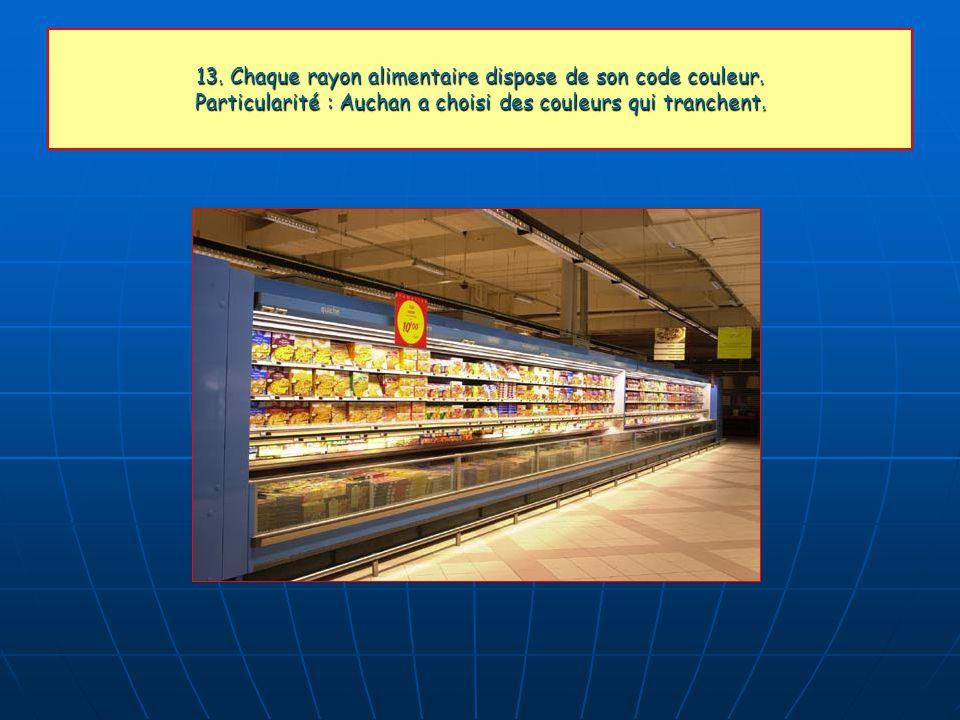 13. Chaque rayon alimentaire dispose de son code couleur. Particularité : Auchan a choisi des couleurs qui tranchent.