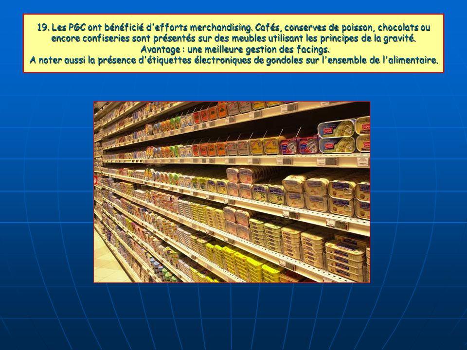 19. Les PGC ont bénéficié d'efforts merchandising. Cafés, conserves de poisson, chocolats ou encore confiseries sont présentés sur des meubles utilisa