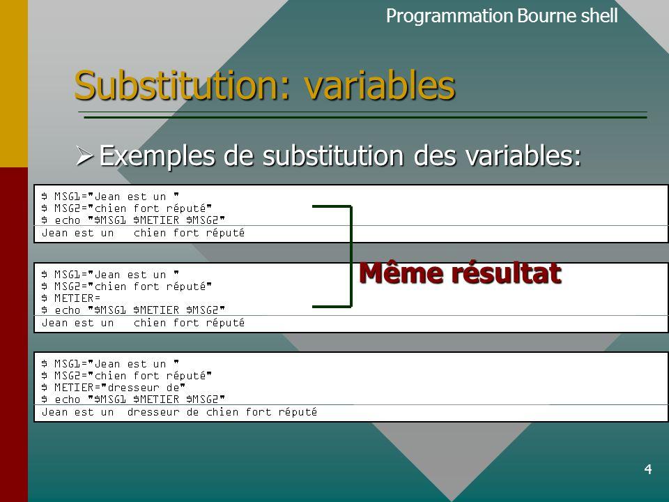 5 Substitution: commandes  L'interpréteur de commande Bourne shell est en mesure de substituer le résultat d'une ligne de commandes UNIX.