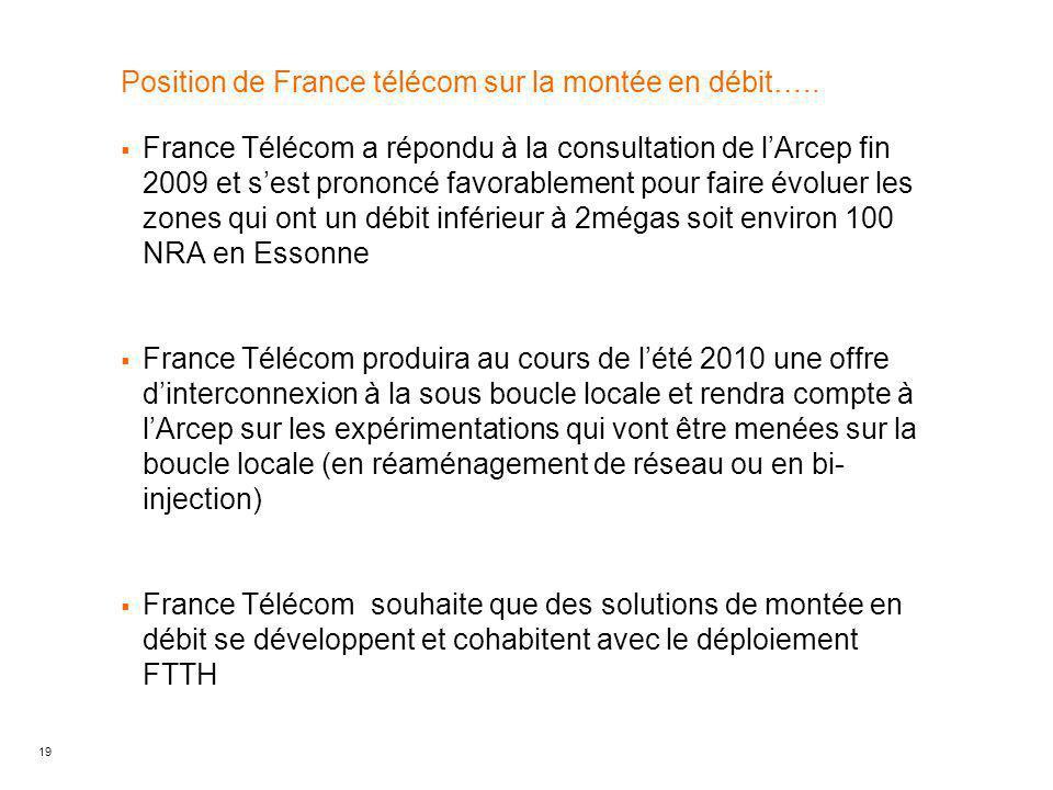 19 Position de France télécom sur la montée en débit…..  France Télécom a répondu à la consultation de l'Arcep fin 2009 et s'est prononcé favorableme