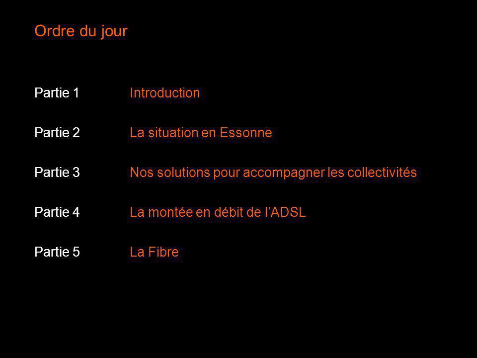 Ordre du jour Partie 1Introduction Partie 2La situation en Essonne Partie 3Nos solutions pour accompagner les collectivités Partie 4La montée en débit