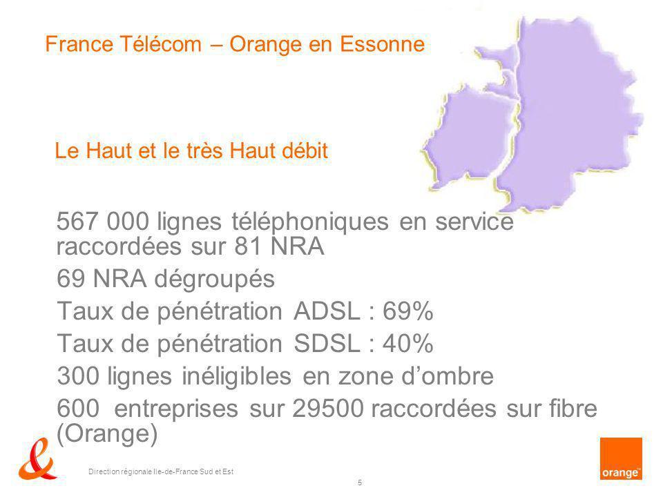 5 Direction régionale Ile-de-France Sud et Est France Télécom – Orange en Essonne Le Haut et le très Haut débit 567 000 lignes téléphoniques en servic