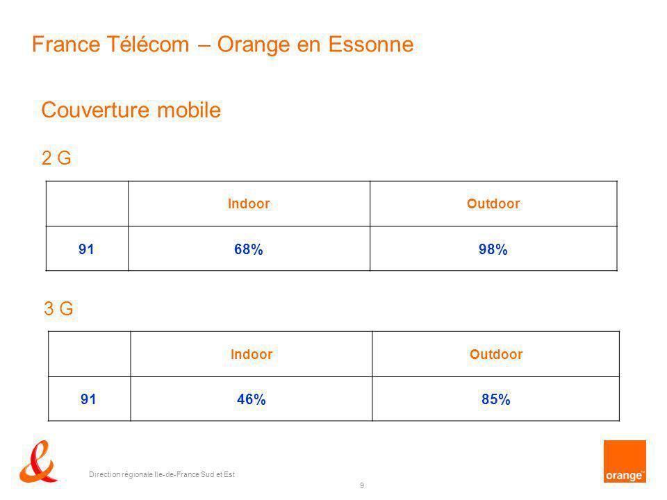 9 Direction régionale Ile-de-France Sud et Est Couverture mobile IndoorOutdoor 9168%98% 2 G IndoorOutdoor 9146%85% 3 G France Télécom – Orange en Esso