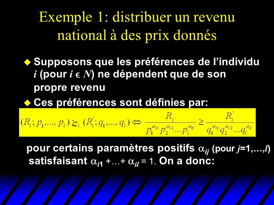 Exemple 1: distribuer un revenu national à des prix donnés  Supposons que les préférences de l'individu i (pour i  N ) ne dépendent que de son propre revenu  Ces préférences sont définies par:  pour certains paramètres positifs  ij (pour j =1,…, l ) satisfaisant  i 1 +…+  il = 1.
