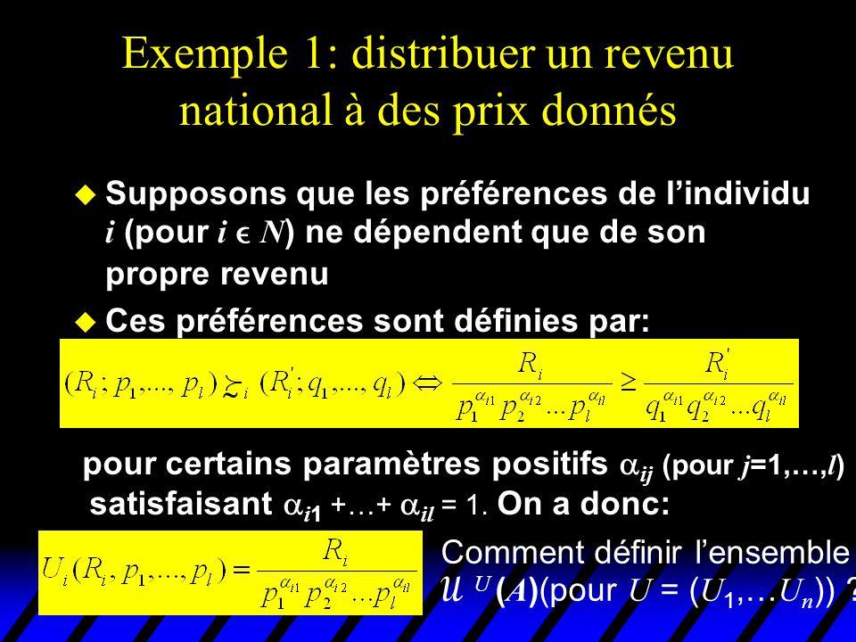 Exemple 1: distribuer un revenu national à des prix donnés  Soit R = R 1 +…+ R n, le revenu agrégé de la communauté  Définissons u i * par:  u i * est le niveau maximal d'utilité que peut espérer i dans cette situation (obtenu si i reçoit l'intégralité du revenu agrégé de la communauté) 0 est le niveau minimal d'utilité que peut recevoir un individu (avec un revenu nul)