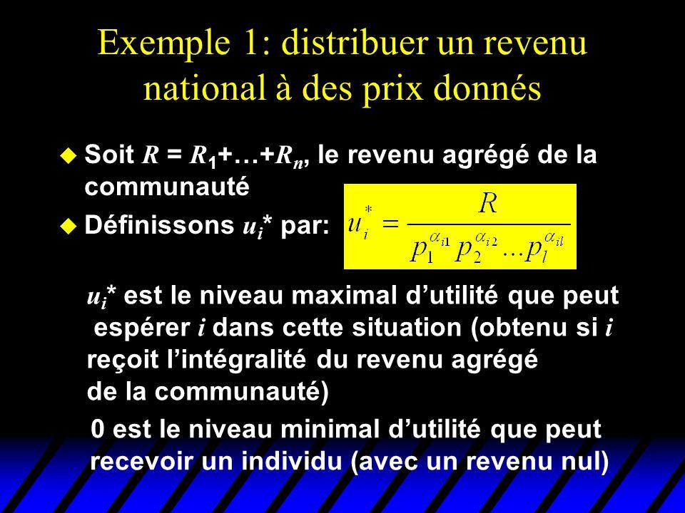 Exemple 1: distribuer un revenu national à des prix donnés  Considérons un individu de référence (disons l'individu n ).