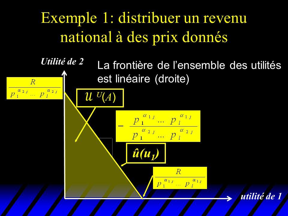 Exemple 1: distribuer un revenu national à des prix donnés utilité de 1 û(u 1 ) Utilité de 2 U(A)U(A) La pente de la droite dépend des coefficients  ij