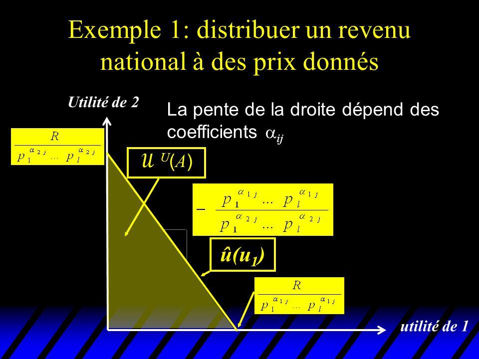 Exemple 1: distribuer un revenu national à des prix donnés utilité de 1 û(u 1 ) Utilité de 2 U(A)U(A) Ces coefficients reflètent les goûts des 2 individus pour les biens