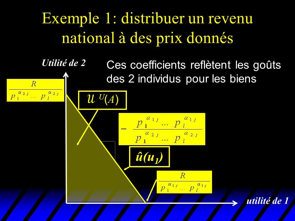 Exemple 1: distribuer un revenu national à des prix donnés utilité de 1 û(u 1 ) Utilité de 2 U(A)U(A) La linéarité de û ( u 1 ) est évidemment spécifique à cet exemple