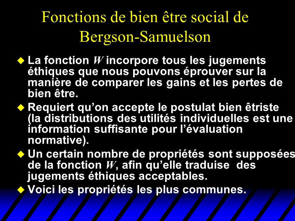 Propriétés des fonctions de Bergson- Samulson  W est croissante par rapport à chacun de ses n arguments (Principe de Pareto)  W est symétrique: si la liste de niveaux d'utilité ( u 1,…, u n ) est une permutation de la liste ( v 1,…, v n ) alors W ( u 1,…, u n ) = W ( v 1,…, v n ) (le nom d'un individu n'a aucune importance; principe d'anonymat).
